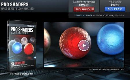 دانلود آبجکت های Pro Shaders مخصوص پلاگین Element 3d V2
