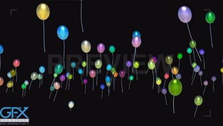 دانلود فوتیج Multi-Colored Balloons Rising Up